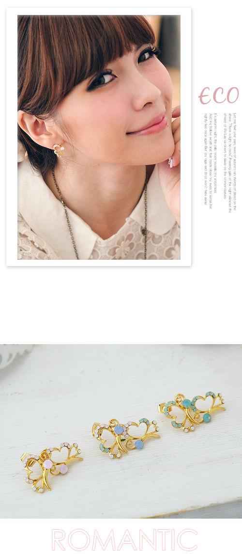 愛心耳環,愛心,蛋白石耳環,蛋白石,韓國飾品,耳環