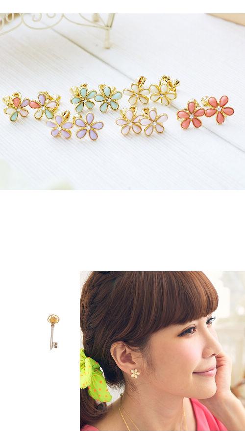 夾式耳環,小花,韓國,韓貨,韓星,偶像,耳環