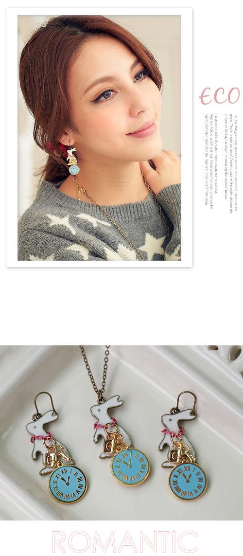 兔子,韓國,韓製,韓貨,時鐘,夾式耳環,耳環