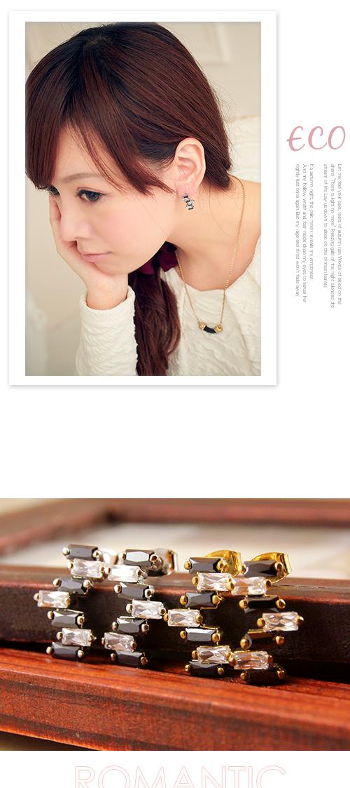 階梯,黑白,不規則,韓製,韓國,韓貨,耳環