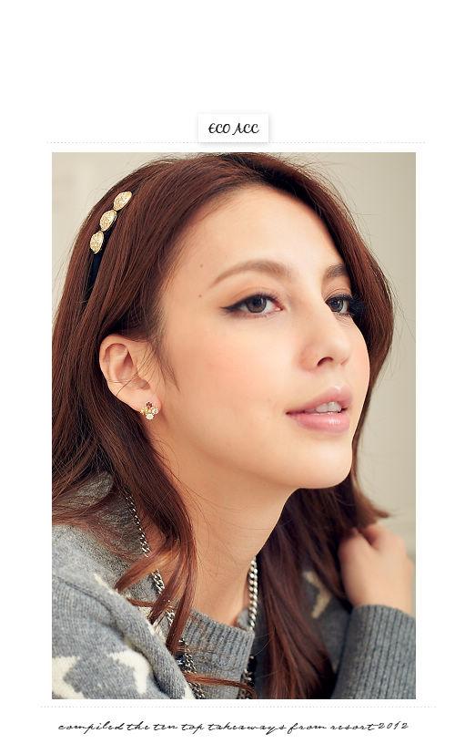 水鑽,蛋白石,韓國,韓製,韓貨,夾式,耳環