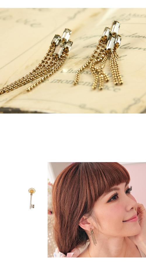 流蘇,方鑽,珠鍊,韓製,韓國,韓貨,耳環