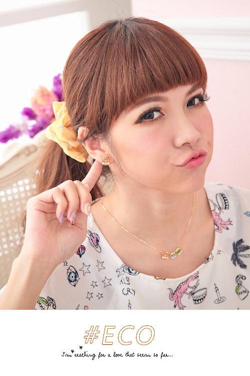 綴鑽耳環,火車頭,釉彩耳環,耳環,韓國飾品,耳環