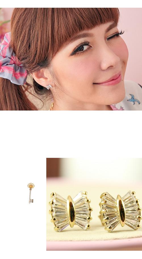 水鑽耳環,蝴蝶結耳環,寶石耳環,韓國飾品,耳環