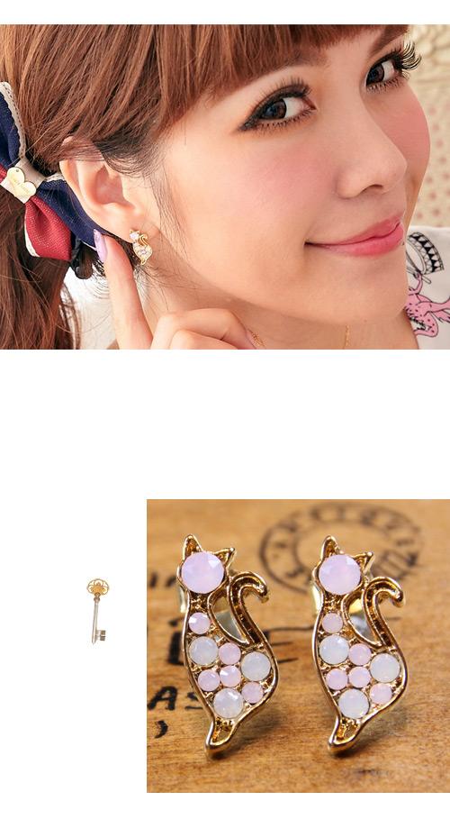 貓咪,蛋白石,夾式,韓國飾品,耳環