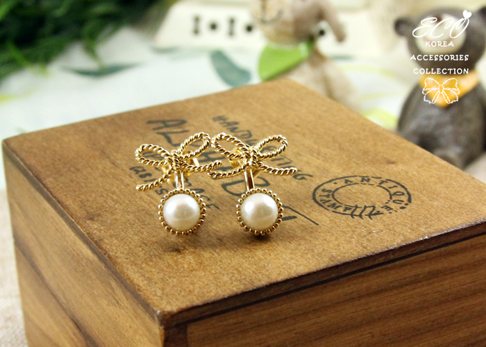 蝴蝶結,珍珠,多用途,韓製,韓國,韓貨,耳環
