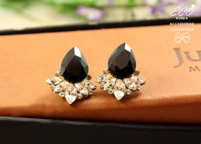 水滴寶石,水鑽,蓮花,黑寶石,韓國,韓製,耳環
