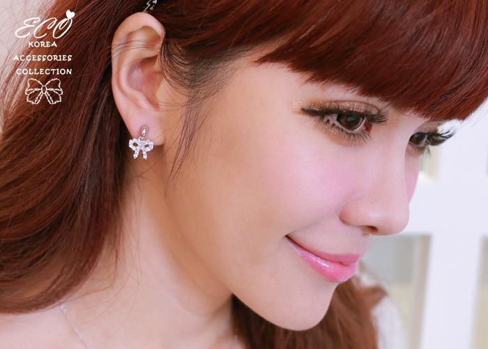 緞帶,鑽,蝴蝶結,晶鑽,韓製,韓國,耳環,夾式耳環