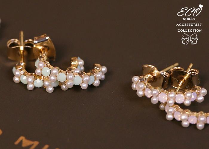 蛋白石,夾式耳環,C形,韓製,韓國,耳環