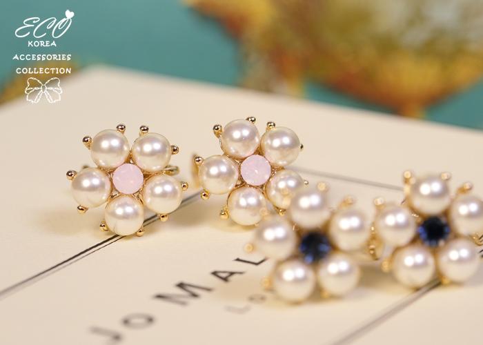 鑽,夾式耳環,韓製,韓國,耳環,珍珠,花朵