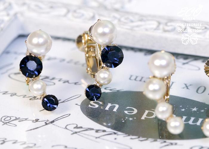 珍珠,藍鑽,優雅,韓製,韓國,夾式耳環,耳環