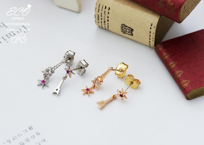 純銀耳針,海星,鐵塔,鑽,桃色,韓製,韓國,耳環