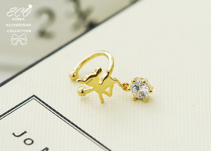 小鹿,無耳洞耳環,鑽,耳骨夾,夾式耳環,剪影,韓製,韓國,耳環