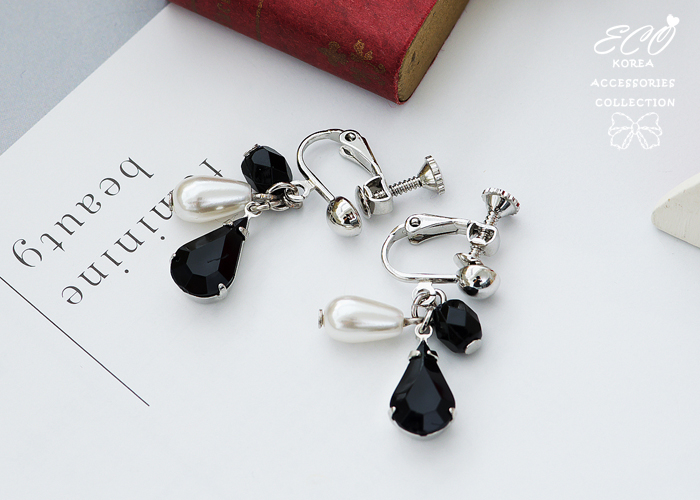 夾式耳環,無耳洞耳環,寶石,珍珠,韓製,韓國,耳環