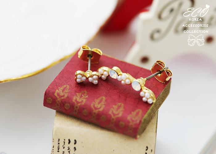 蝴蝶結,珍珠,蛋白石,不對襯,針式耳環,韓製,韓國,耳環