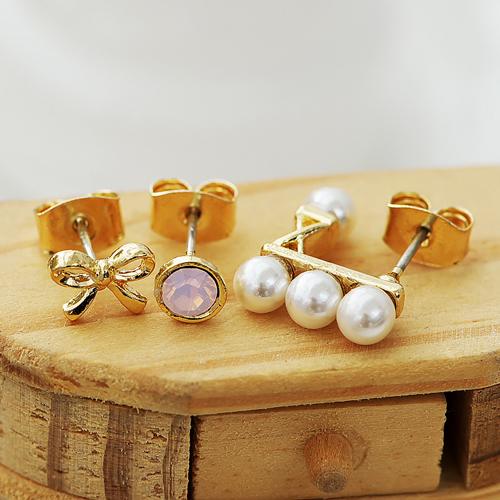 ECO安珂.(純銀耳針)春天清甜粉紅蛋白石蝴蝶結珍珠 耳環(2款)【2-1382】