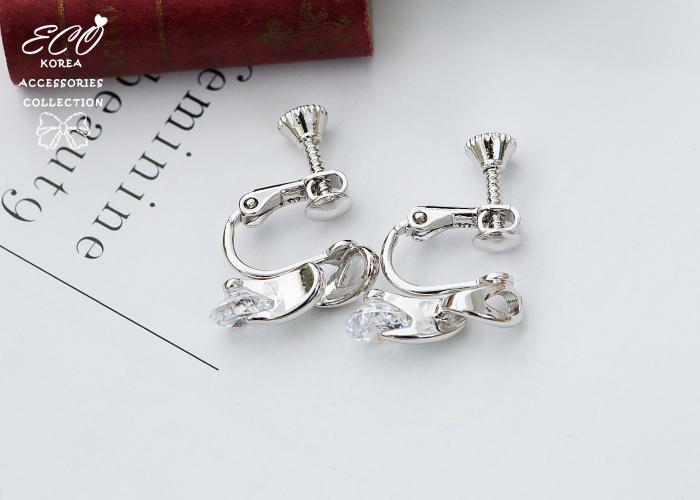 流線,無耳洞耳環,鑽,韓製,韓國,耳環