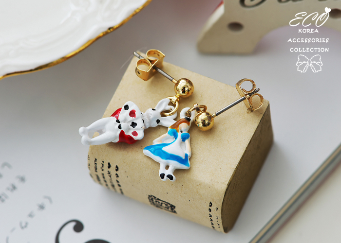 無耳洞耳環,夾式耳環,愛莉絲夢遊仙境,兔子先生,撲克牌,韓製,韓國,耳環,釉彩
