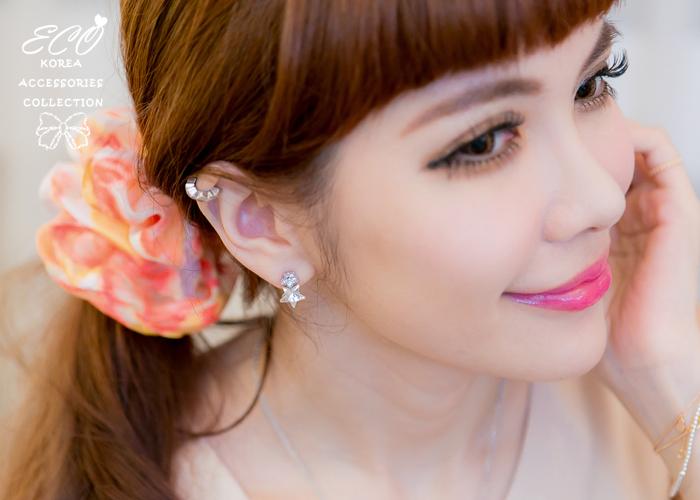 鑽,星星鑽,無耳洞耳環,夾式耳環,優雅,純銀耳針,鑽,韓製,韓國,耳環