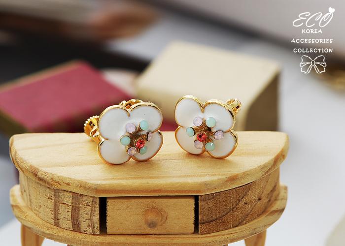 釉彩,花朵,蛋白石,無耳洞耳環,夾式耳環,韓製,韓國,耳環