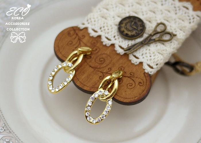 橢圓,鑽,無耳洞耳環,夾式耳環,韓製,韓國,耳環
