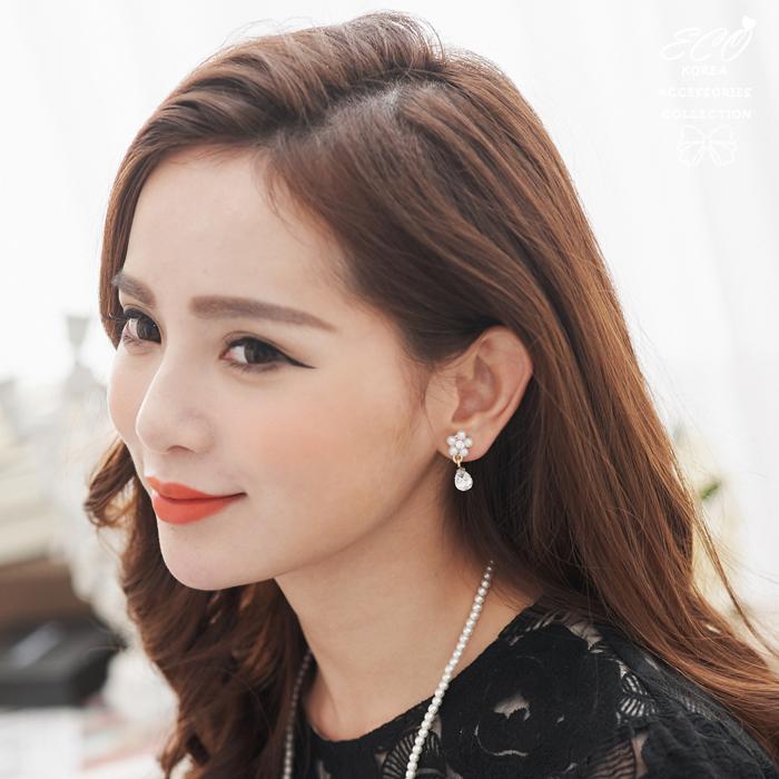 可愛,黑寶石,珍珠,小花鑽,無耳洞耳環,夾式耳環,秀氣,韓製,韓國,耳環