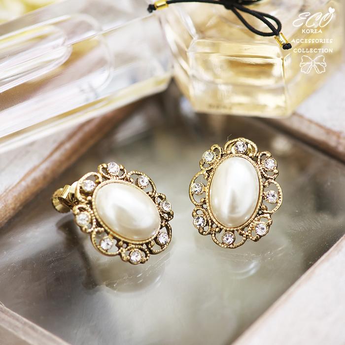 復古,大珍珠,鑽,無耳洞耳環,夾式耳環,韓製,韓國,耳環