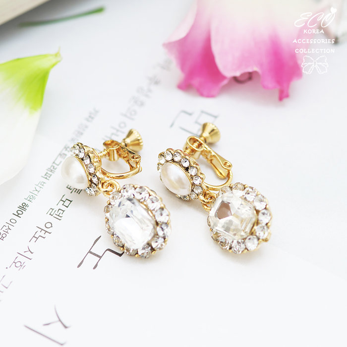 珍珠,復古,大寶石,鑽,鋯石,無耳洞耳環,夾式耳環,韓製,韓國,耳環