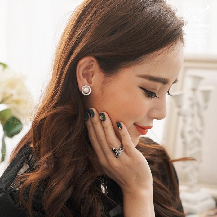 珍珠,鑽,無耳洞耳環,夾式耳環,高雅,韓製,韓國,耳環