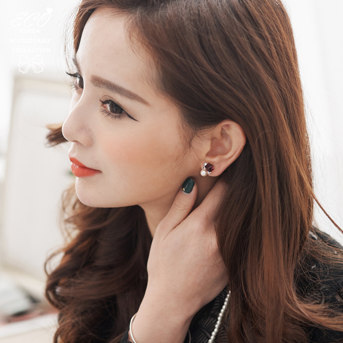 方塊寶石,珍珠,鑽,夾式耳環,無耳洞耳環,韓製,韓國,耳環