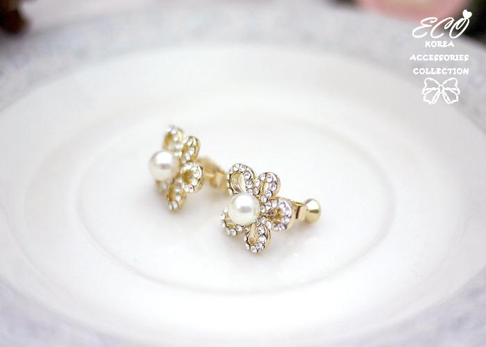 線條,花,鑽,珍珠,夾式耳環,韓製,韓國,耳環,無耳洞耳環