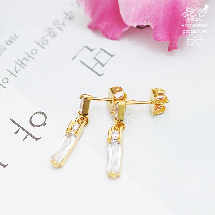 長方形寶石,寶石,鑽,鋯石,簡約,夾式耳環,韓製,韓國,耳環