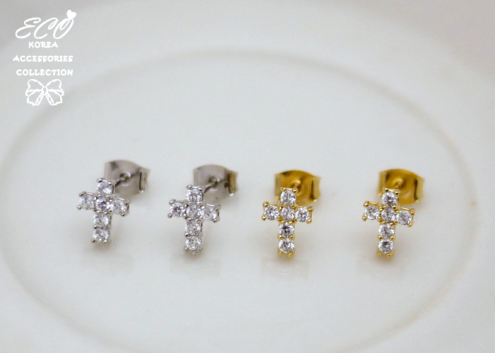 十字架,鑽,韓製,韓國,耳環