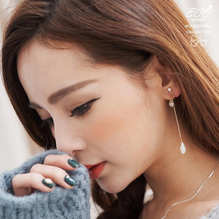 水滴,寶石,秀氣,飄逸,透綠寶石,無耳洞耳環,夾式耳環,韓製,韓國,耳環