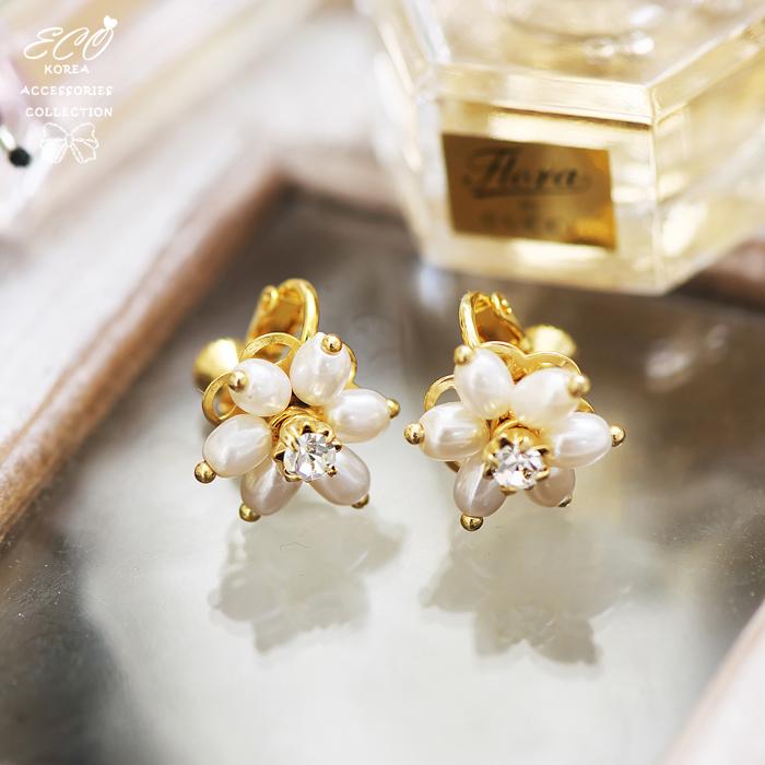 珍珠,花朵,鑽,無耳洞耳環,夾式耳環,韓製,韓國,耳環