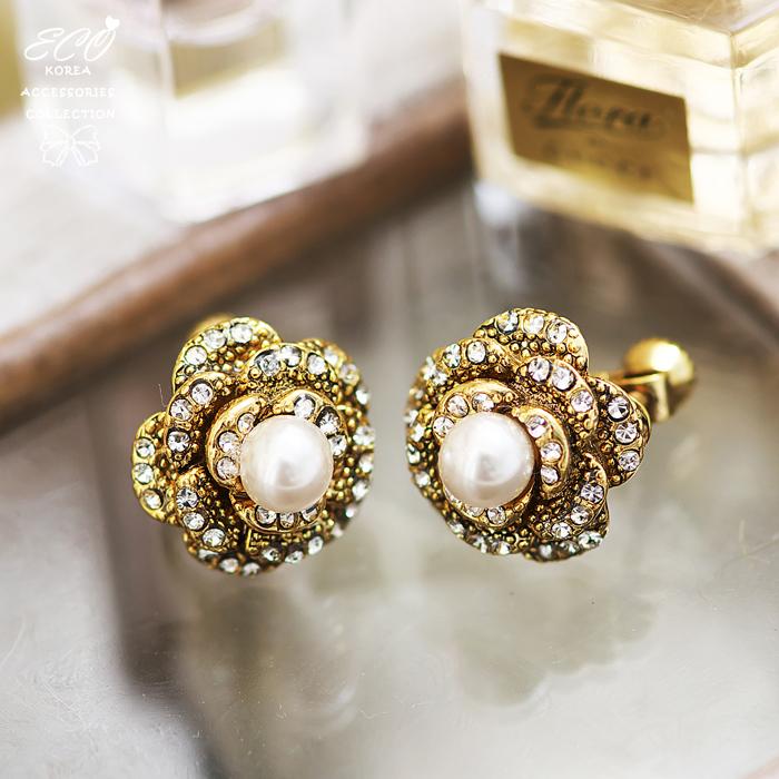 山茶花,花朵,珍珠,華麗,無耳洞耳環,耳骨夾,夾式耳環,韓製,韓國,耳環