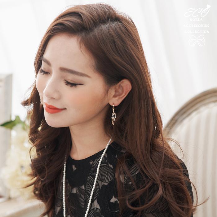 芭蕾舞,珍珠,釉彩,夾式耳環,無耳洞耳環,鑽,氣質,可愛,韓製,韓國,耳環