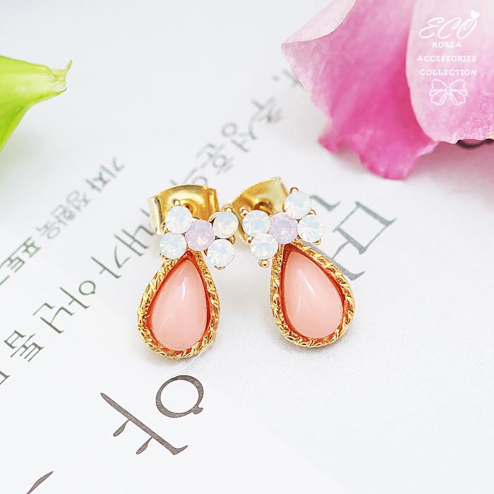 蝴蝶結,水滴石,粉嫩,韓製,韓國,耳環