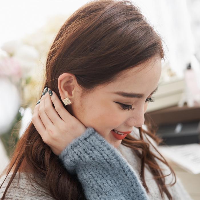 方形,珍珠,耳骨夾,夾式耳環,無耳洞耳環,韓製,韓國,耳環