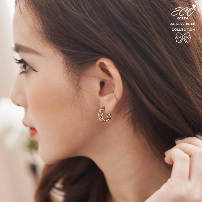 復古,刷黑,個性,花邊,c圈,韓製,韓國,耳環