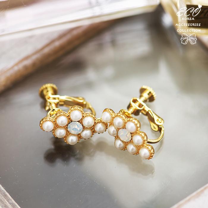 菱形,珍珠,蛋白石,無耳動耳環,夾式耳環,韓製,韓國,耳環
