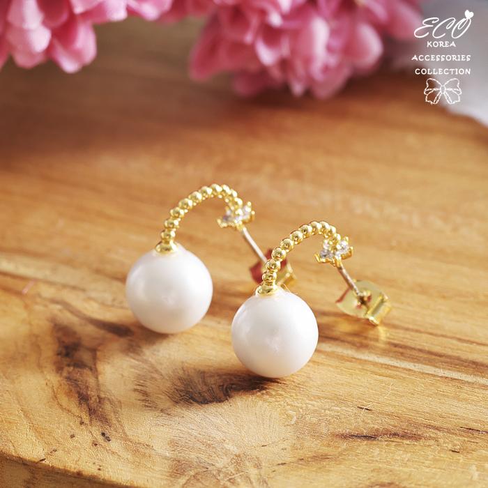圓珠C圈,珍珠,純銀耳針,星星,鑽,韓製,韓國,耳環