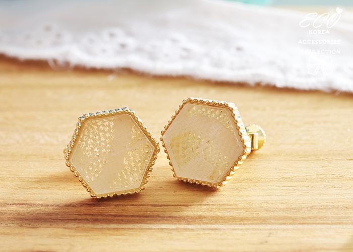 六角形,蕾絲紋,夾式耳環,無耳洞耳環,韓製,韓國,耳環