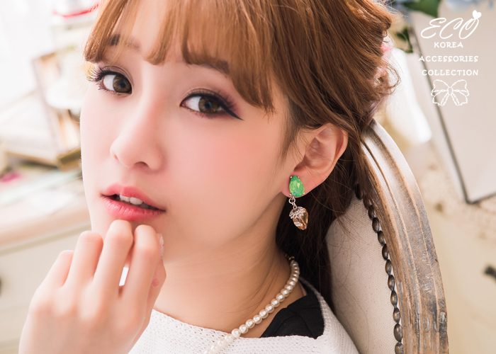 綠寶石,水滴,橘寶石,夾式耳環,無耳洞耳環,糖果,寶石,韓製,韓國,耳環