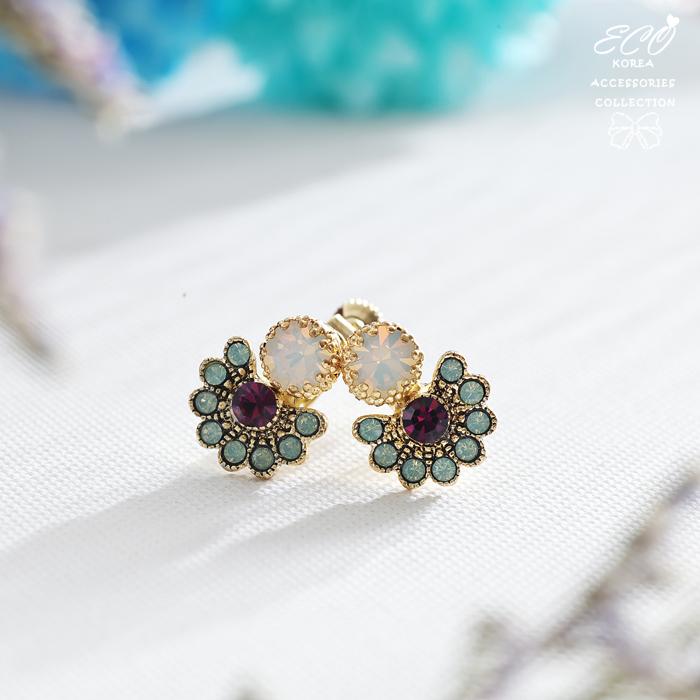 孔雀,開屏,蛋白石,紫鑽,鑽,無耳洞耳環,夾式耳環,韓製,韓國,耳環