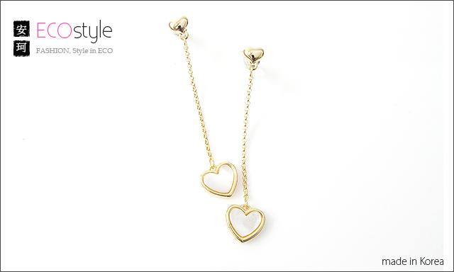 珠貝,愛心,花猴,韓國飾品,垂墜耳環