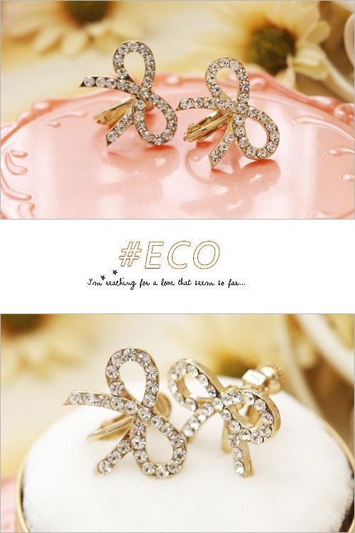 蝴蝶結耳環,蝴蝶結耳環,抓鑽耳環,綴鑽耳環,夾式耳環,韓國製耳環,韓國飾品,耳環