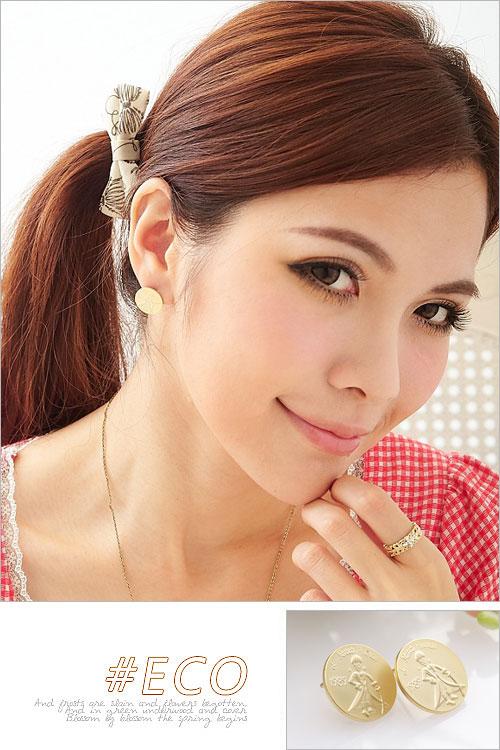 小王子,圓形耳環,童趣創意,韓國製耳環,韓國飾品,耳環
