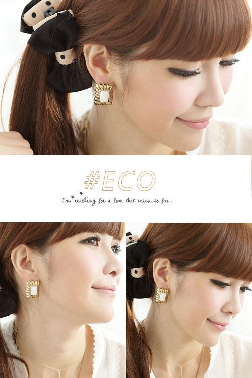 寶石耳環,白寶石耳環,古著設計,復古風,韓國飾品,耳環
