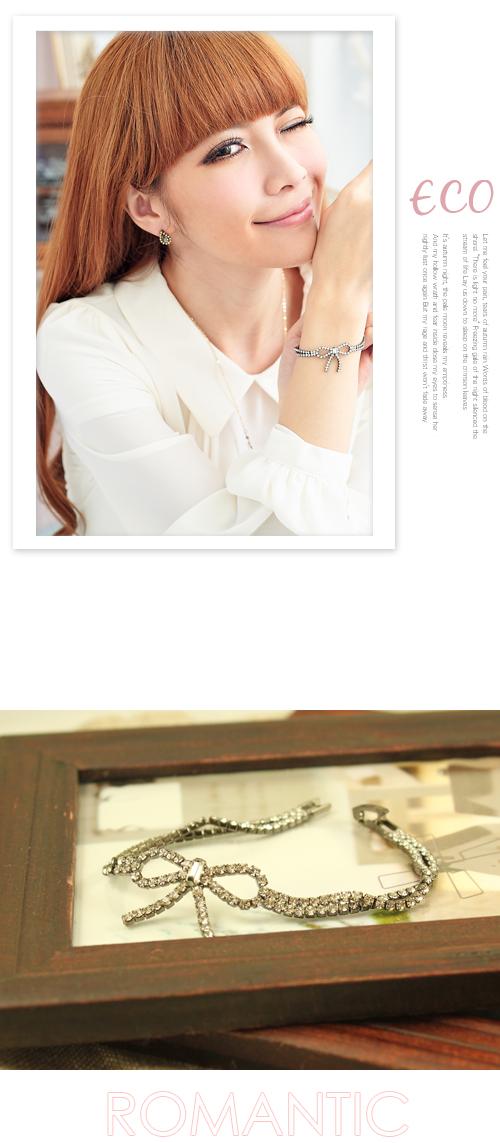 蝴蝶結,水鑽,雙鍊,韓國,韓製,手鍊,手環